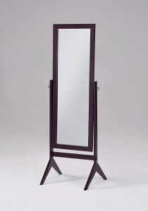 Espresso Finish Wooden Cheval Floor Mirror