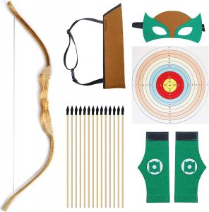 wooden bow and arrow set